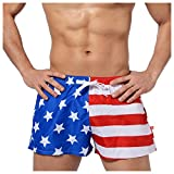 Leories Men's Faded Patriotic Glory USA American Flag Swim Trunks M Blue