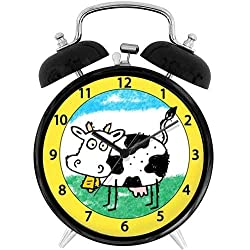 47BuyZHJX Unique Retro Style Decoration-Silly Cow,4 Twin Bell Alarm Clock with nightlight, Battery Operated, Loud Alarm for Sleepers, on Bedside/Desk/Table for Home/Office