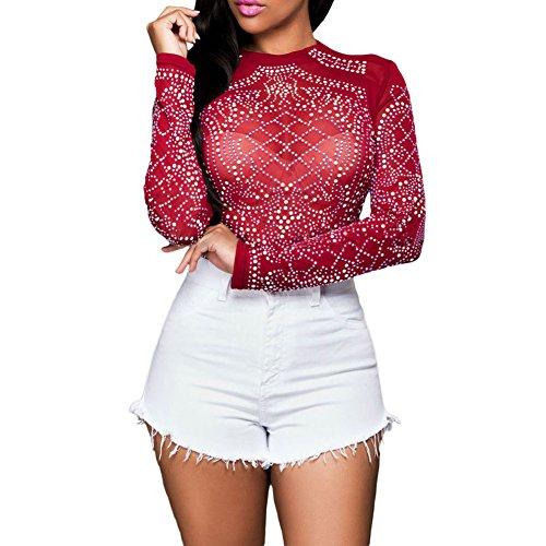 fb16236a009 Eiffel Women s Studs Sheer Mesh Stretchy Long Sleeve Crop Tops Blouse Shirts