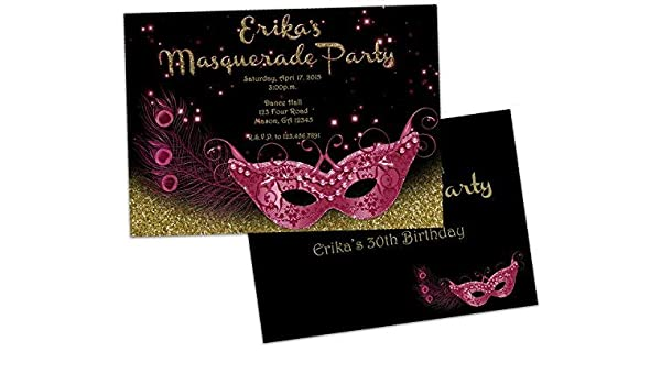 Amazon Pink And Gold Birthday Invitations Masquerade Mask