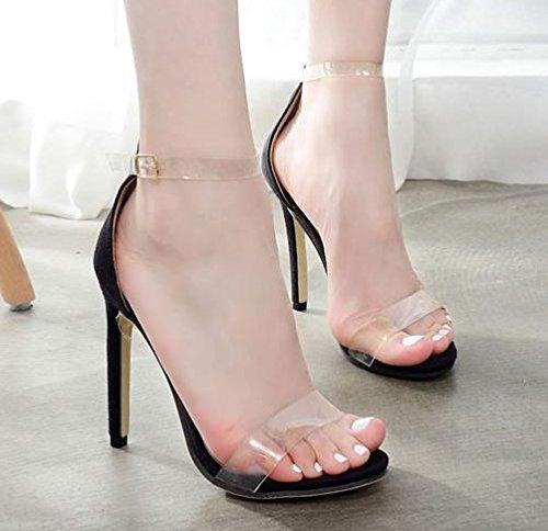 ZHUDJ Zapatos De Tacón Alto Y Sandalias De Tacón Transparencias Peep Toe Sandalias De Tacón,Negro,37 Thirty-seven|black