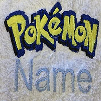 EFY White Baby Hooded Bath Robe or White Hooded Towel with a POKEMON Logo and Name of your choice. Hooded Towel 0-5 years