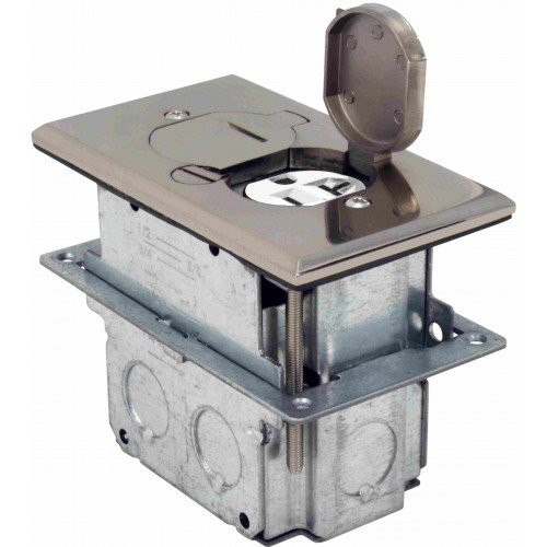 Orbit FLB-D-SS Electric Floor Box, TR Flip-Type w/Duplex Receptacle Cover & Adjustable Box - Stainless Steel