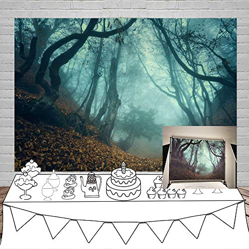 Laeacco 8x6.5ft Halloween Theme Backdrop Vinyl Twilight Misty Forest Path Fallen Leaves Photography Backgroud Ghastly Wood Child Baby Photo Shoot Props Jungle Curvy Trees Foggy Backdrops