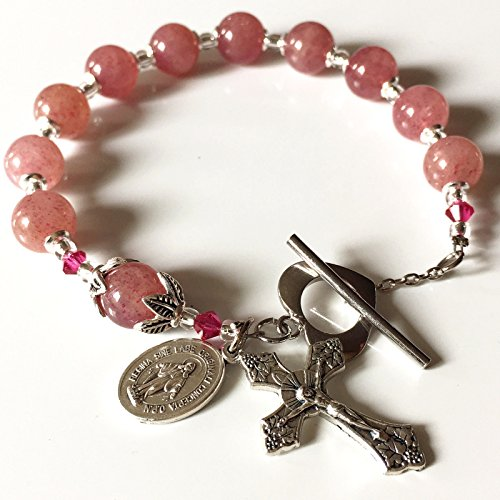 Quartz Rosary Crucifix - elegantmedical UNDOUBTED Strawberry Quartz Beads Bracelet Cross Silver Flower Travel Rosary