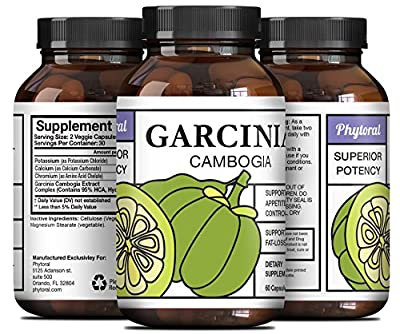 Potent Garcinia Cambogia Extract HCA For Men And Women - Pure Weight Loss Pills - Enhance Your Focus + Workout - Use For Appetite Control - Burn Belly Fat Natural Garcinia Cambogia By Phytoral