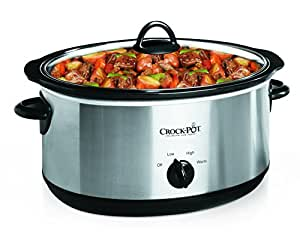 Crock-Pot 7-Quart Oval Manual Slow Cooker, Stainless Steel (SCV700SS)