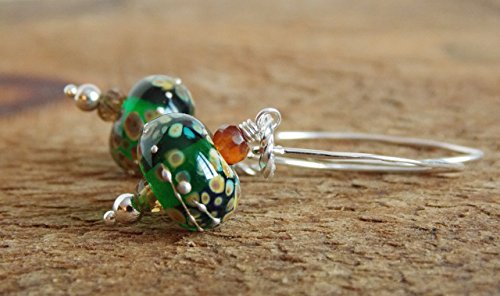Green Artisan Lampwork Earrings ()