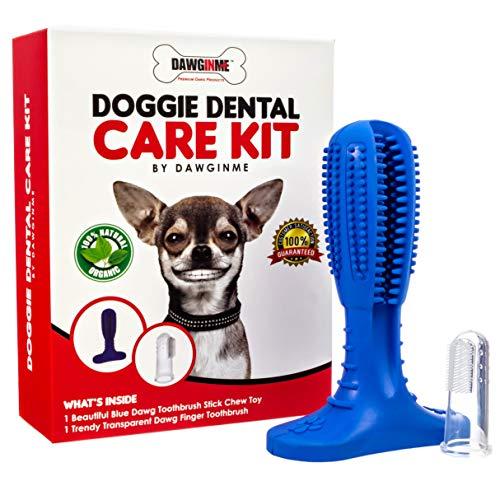 DAWGINME Doggie Dental Care Kit   Blue Dog Toothbrush Stick   Puppy Dental Care Brushing Stick   Finger Toothbrush…