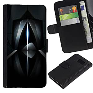KingStore / Leather Etui en cuir / Samsung Galaxy S6 / Resumen de rayo láser futurista oscuro