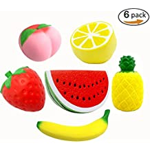 Fancystyle Squishies Slow Rising Toys Squishy Jumbo Kawaii Squishy Toys Scented Squishies Fruit Kit (Strawberry Peach Lemon Watermelon Banana and Pineapple ) Pack of 6
