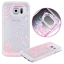 Samsung Galaxy S6 Edge Plus Liquid Case,Fashion Creative Design Flowing Liquid Floating Luxury Bling Glitter Sparkle Love Heart Hard Case for Samsung Galaxy S6 Edge Plus (Love Heart Pink)