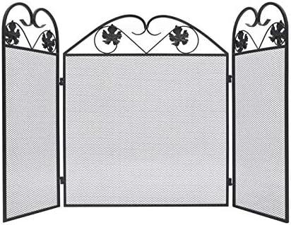 VidaXL - Protector de chimenea para chimenea (3 paneles), diseño plegable de metal para el hogar, color negro: Amazon.es: Bricolaje y herramientas