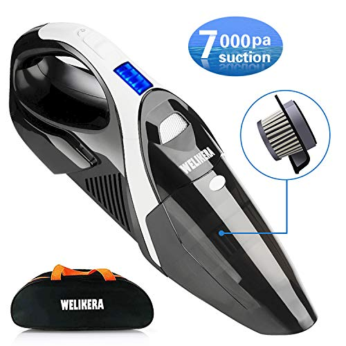 WELIKERA Handheld Vacuum, Cordless Vacuum Cleaner with Li-ion Battery & Stainless Steel Filter, 7KPA Portable Hand Vacuum, Rechargeable Hand Vac for Home Pet Hair, Car Cleaning[Upgraded Version]