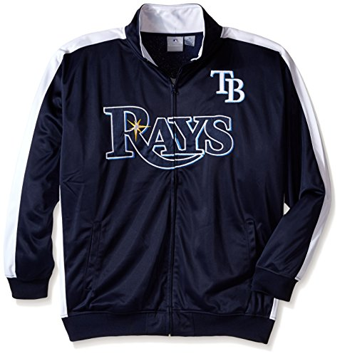 MLB Tampa Bay Rays Men's Tricot Poly Track Jacket, 3X, Navy/White ()