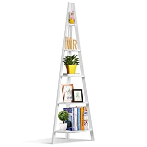 Tangkula Corner Ladder Shelf, 5-Tier Corner Ladder Bookcase, Wooden A-Shaped Display Organizer Plant Flower Stand, for Home Office, 5-Shelf Corner Ladder Bookshelf (White)