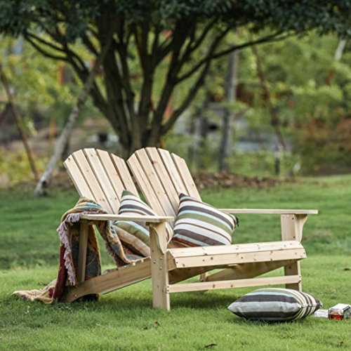 - Wooden Double Adirondack Chair Loveseat - Unfinished Patio Furniture (Beige)