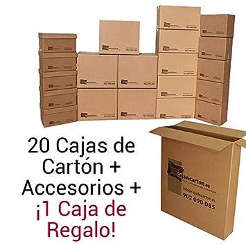 Cajadecarton - Pack de Cajas para Mudanza MINI, 20 Cajas Surtidas + 1 Caja de Regalo + Material de Embalaje Diverso: Amazon.es: Oficina y papelería