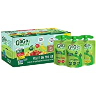 GoGo squeeZ Applesauce, Variety Pack (Apple/Banana/Strawberry), 3.2 Ounce (20 Pouches), Gluten Free, Vegan Friendly, Unsweetened, Recloseable, BPA Free Pouches