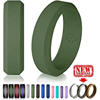 Silicone Wedding Ring Band for Men Women - Enhanced Comfort, Superior Non Bulky Rubber Rings - Flexible No Metal, Safe for Firefighter, Athletic Husband Wife, Sports - Designer Style, Premium Quality