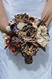 Animal Print Artificial Brown Sunflower and Leopard Print Handmade Magnolia Flower Bridal Bouquet