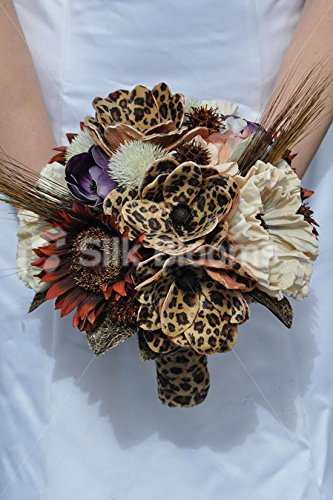 Animal Print Artificial Brown Sunflower and Leopard Print Handmade Magnolia Flower Bridal Bouquet by Silk Blooms Ltd