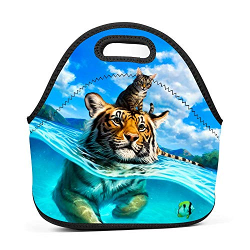 Gujigur Handbags Fantasy Swimming Tiger with Cat Lunch Bag for Adult Women and Men - Idea for Beach,Picnics,Road Trip,Meal Prep,Everyday Lunch to Work or School ()