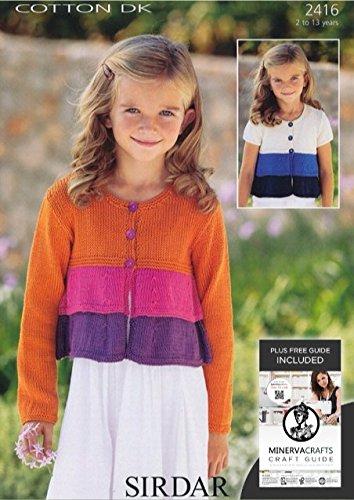 281b5867c086 Sirdar Cotton DK Girls Long Sleeve   Short Sleeve Cardigan Knitting Pattern  2416  Amazon.co.uk  Kitchen   Home