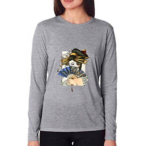 VIPxmax Geisha Painting Premium Tri-Blend Strom New Soft Gym Fitness Long Sleeve Women T-shirt Size L