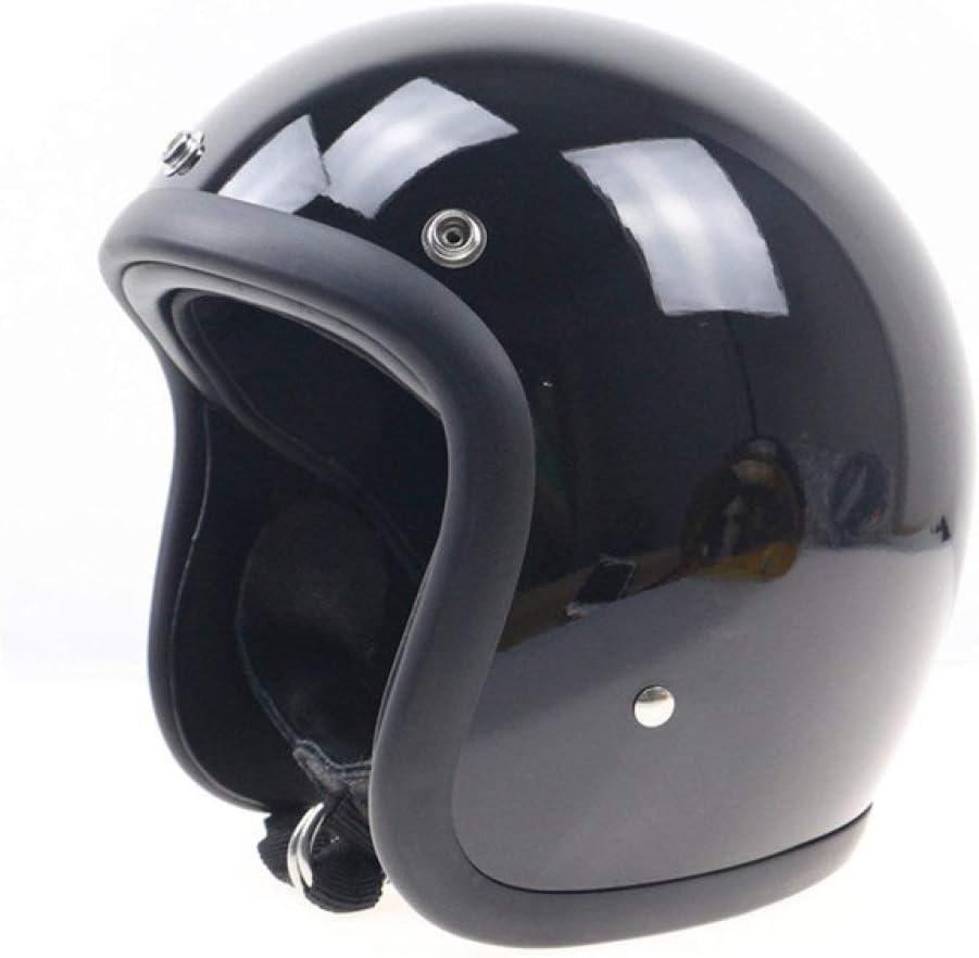 HLOEC Casco de Moto No más Cabeza de Hongo Ligera y cómoda Casco de Fibra de Vidrio Hecho a Mano Casco Abierto
