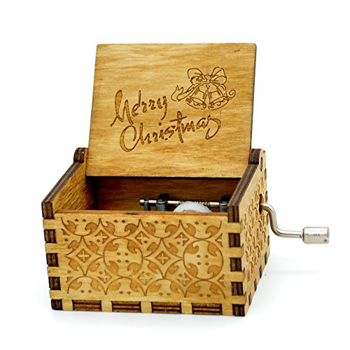 Merry Christmas Music Box- 18 Note Mechanism Wooden Music Box Crafts Xmas Gift(Merry ()