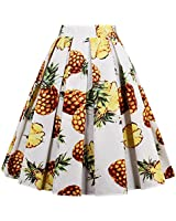 Dressever Women's Vintage A-line Printed Pleated Flared Midi Skirts Pineapple Small