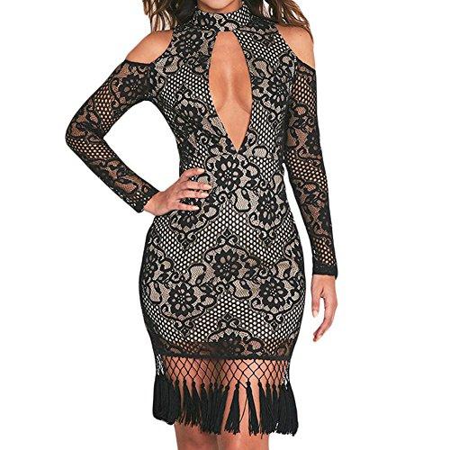 Elakaka Premium Lace Tassel Detail Bodycon Dres,(Black,M) (90s Themed Clothes)