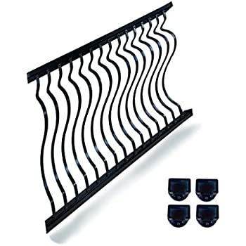 8 Ft X 42 In Hammered Black Aluminum Stair Railing Kit With Curved