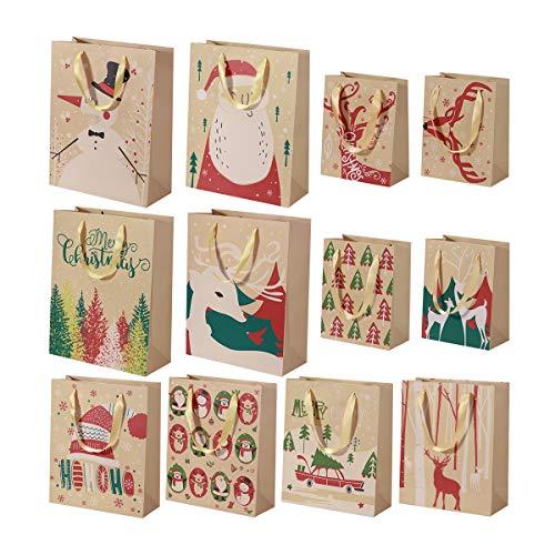 Tinksky Christmas Gift Bag Kraft Wrapping Bags Paper Bag Shopping Bag Retail Bag Christmas Favor Supplies [Pack of 24, 3 Sizes]