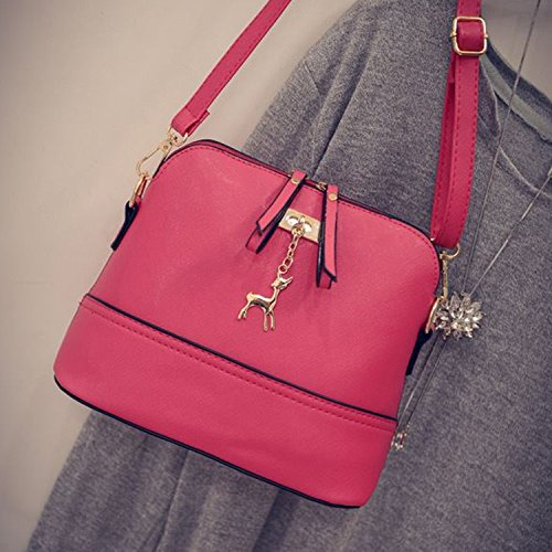 10 Red Handbag Shell Women Vintage PU 19cm Generic Model Shoulder Leather Bags 25 Rose ApOxRnS