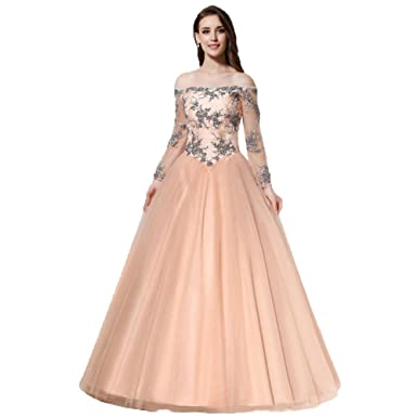 b4cde311f873 LEJY Women s Tulle Full Sleeve Long Evening Dress With Applique Off  Shoulder Ball Gown Evening Party