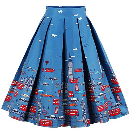 Dressever Women's Vintage A-line Printed Pleated Flared Midi Skirts Cars X-Small ()
