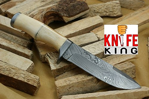 Knife King Angelo Bianco Damascus Handmade Hunting Knife. Comes with a sheath.