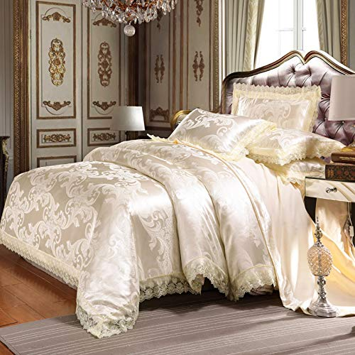 UniTendo 4 Piece Sateen Cotton Jacquard Duvet Cover Sets,Delicate Floral Pattern Bedding Sets,Duvet Cover Flat Sheet and 2 Pillowcases,Queen/Full Size, Creamy-White. - Piece Silk Bedding 4