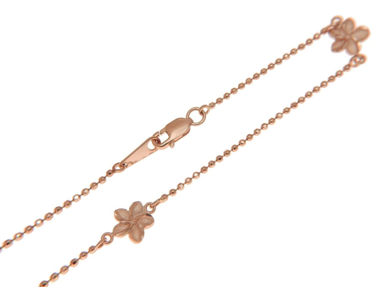14k solid pink rose gold 2 sided Hawaiian plumeria diamond cut bead chain anklet 9''