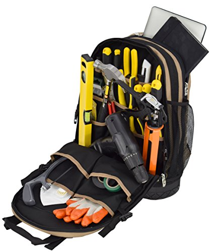 Professional Tool Backpack, Comfort-Design with Optimized Pockets (Carpenters Tool Bag with Rubber Base)