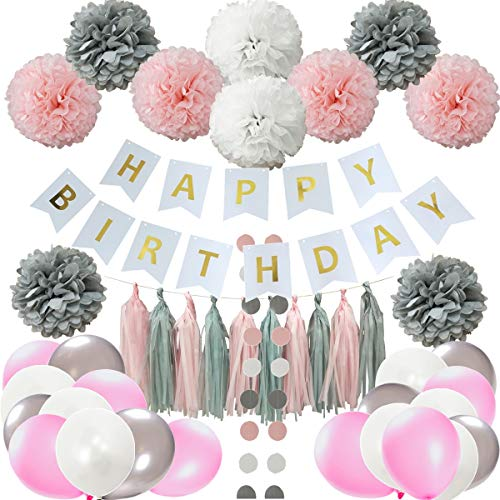 InBy Pink Happy Birthday Party Decoration Set for Girl Birthday Supplies Kit - Happy Birthday Banner, Tissue Paper Pom Pom, Tassel Garland, Latex Balloon, Circle Dot Garland ()