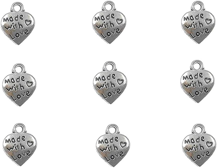 50pcs MADE WITH LOVE Heart Lock Charms Pendants Jewelry Gift DIY Making Antique