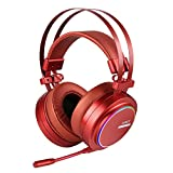 AUKEY Gaming Headset, Virtual 7.1-Channel Stereo USB Gaming Headphones with RGB Backlit, Microphone for Computers(Red) AUKEY