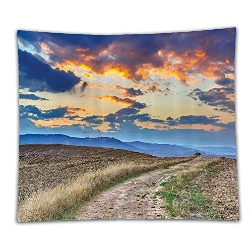 Beshowereb Fleece Throw Blanket Decorations Collection Sun Setting over Empty Harvested Farm by Pathway in Tuscany Italy Fall Time Po