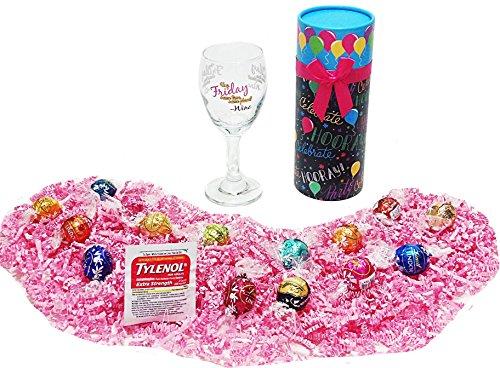 Godiva Wine - Hey Friday Humorous Happy Birthday Gift Box of Assorted Lindt Lindor Gourmet Truffles Gourmet Chocolate Candy, Wine Glass & Tylenol
