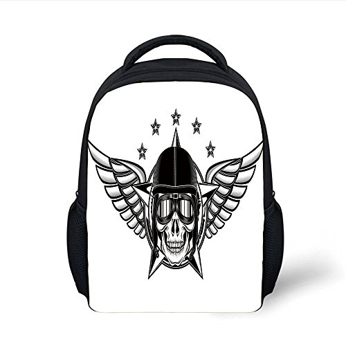 iPrint Kids School Backpack Skull,Skull Pilot Eagle Wings Stars Fast Day The Dead Bones Print,Black White Plain Bookbag Travel -