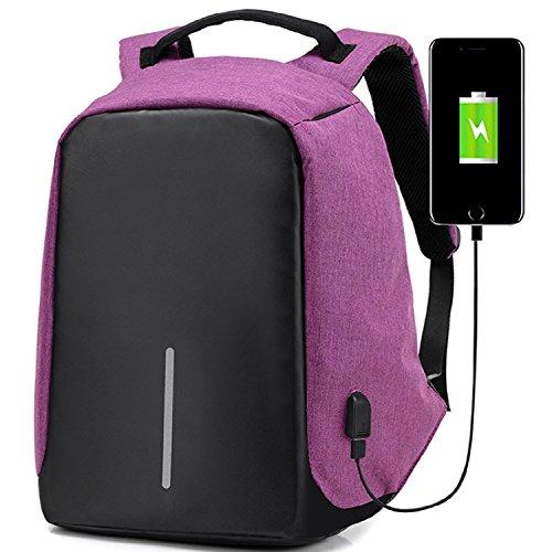 Travel Outdoor Computer Backpack Laptop Bag (Purple) - 6
