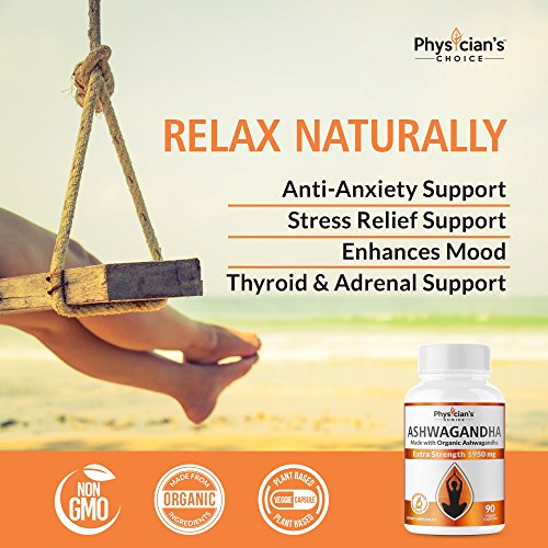 Ashwagandha 1950mg Organic Ashwagandha Root Powder Extract of Black Pepper Anxiety Relief, Thyroid Support, Cortisol & Adrenal Support, Anti Anxiety & Adrenal Fatigue Supplements 90 Veggie Capsules by PhysiciansChoice (Image #5)